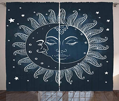 Ambesonne Sun and Moon Curtain