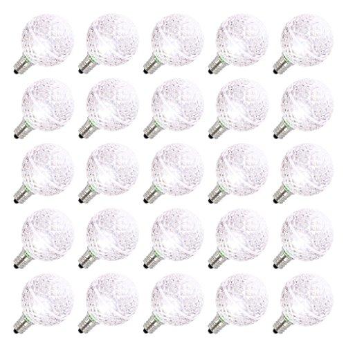 Vickerman 25816 - G40 Candelabra Screw Base Pure White LED Faceted (25 pack) Christmas Light Bulbs (XLEDG4P)
