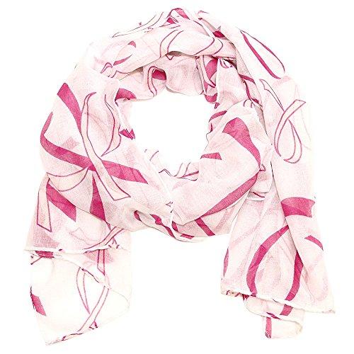 Falari Women's Pink Ribbon Breast Cancer Symbol Scarf