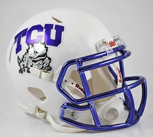 Tcu College Football (Texas Christian Horned Frogs Riddell Speed Mini Replica Chrome Football Helmet)