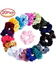 Mandydov 20 Pcs Hair Scrunchies Velvet Elastic Hair Bands Scrunchy Hair Ties Ropes Scrunchie for Women or Girls Hair Accessories, 20 Assorted Colors Scrunchies