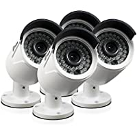 Swann NHD-815 3MP Bullet Camera POE 4 Pack Plain Box Add-on Bullet Camera, White (SRNHD-815WB4-US)