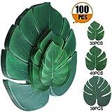 Artificial Tropical Palm Leaves 100 Pcs Plant Faux Safari Leaves Monstera Fake Large Green Leaf for Hawaiian Luau Tiki Aloha Jungle Beach Birthday Theme BBQ Party Table Decorations Supplies (3 Size)
