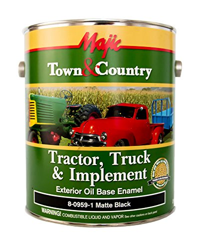 (Majic Paints 8-0959-1 Town & Country Tractor, Truck & Implement Oil Base Enamel Paint, 1-Gallon, Matte Black)