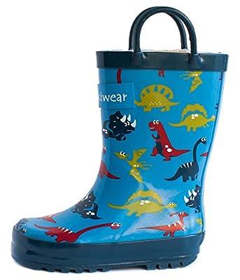 Oakiwear Boys Rubber Rain Boots with Easy-On Handles - Blue Dinosaurs