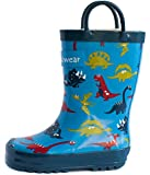 Oakiwear Boys Rubber Rain Boots with Easy-On Handles - Blue Dinosaurs