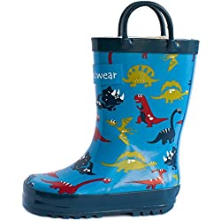 Oakiwear Kids Rubber Rain Boots (12 US Little Kid, Blue Dinosaurs)