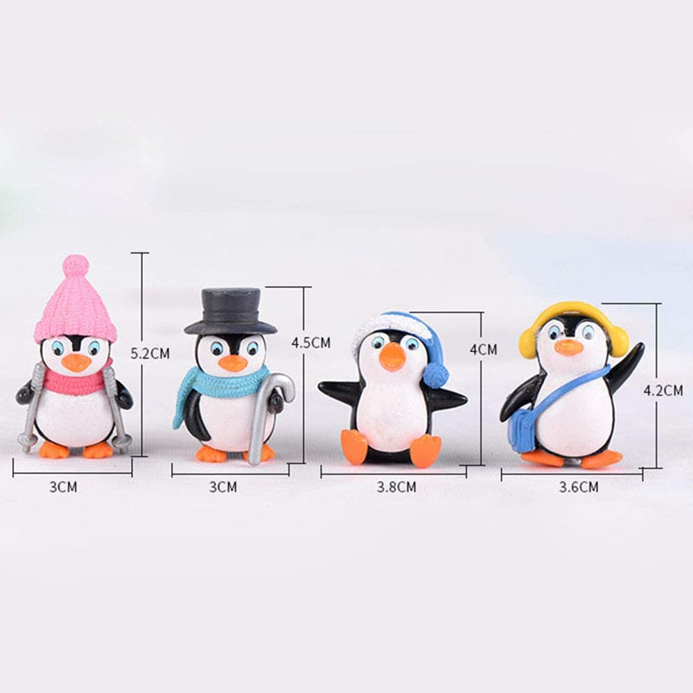 DAWEIF 4pcs/Set Mini Winter Penguin Miniature Figurine Christmas Figures DIY Crafts for Fairy Garden Home Decoration