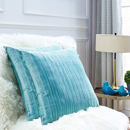 Throw Pillows Covers 18 x 18,Set of 2 Light Sky Blue Velvet Corduroy Soft Throw Pillows for Couch Bed,Accent Home Decorative Square Cushions Cases Shams Pillowcases Farmhouse,45 x 45 CM Turquoise Aqua
