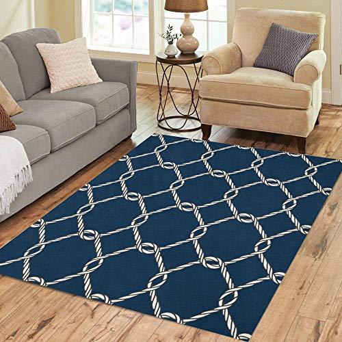 (Pinbeam Area Rug Nautical Rope Knot Pattern Endless Navy White Fishing Home Decor Floor Rug 3' x 5' Carpet)