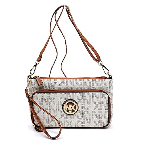 NX Exchange Beige Signature Noble JP Crossbody Wristlet Messenger Purse Ivory Clutch Bag rarwq1