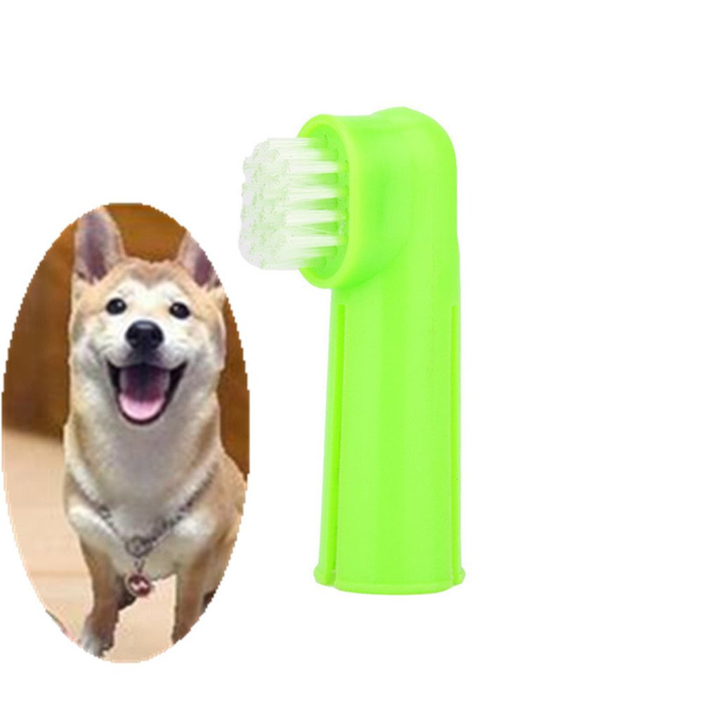 ERTIANANG 2Pcs Pet Dog Oral Dental Soft Finger Toothbrush Cleaning Teeth Care Hygiene Rubber Massage Brush
