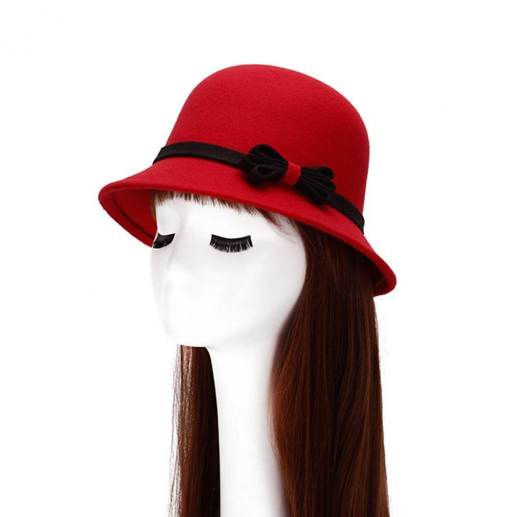 Little Finger Fashion Women Causual Charm Bowlers Hat Lady Party Decor Bowknot Cap Gift