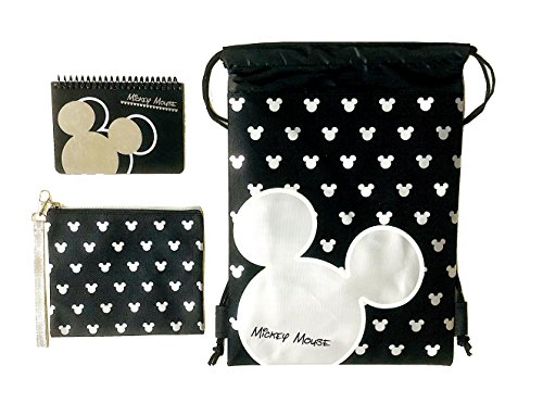Emerald Disney Mickey Mouse Glow in the Dark Drawstring Backpack Plus Autograph Book with Purse - Set of 3 Silver (Big Head)