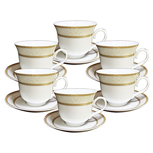 Set of 12 Gold Wreath Design Porcelain Tea Cup Saucer Set for 6 with Gift Box 1276B-12 [A-to-Z Deals] (Teacup Wreath)