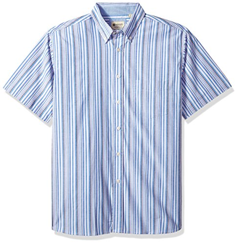 Haggar Men's Short Sleeve Poplin Woven Shirt, French/Strong Blue, XL -