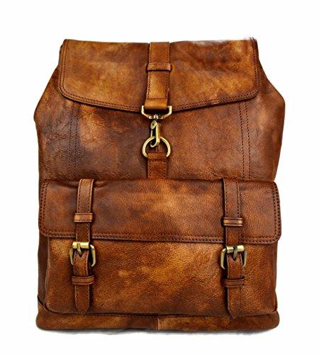 Vintage leather backpack genuine washed leather travel bag weekender sports bag gym bag leather shoulder ladies mens brown backpack by ItalianHandbags