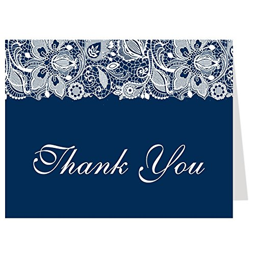 Folding Note (Thank You Cards, Lace, Bridal Shower, Wedding, Navy, Navy Blue, White, Business, Personal, Simple, Chic, Set of 50 Folding Notes with Envelopes, Simple Lace)