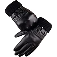 Winter Leather Gloves for Men PU Driving Warm Touch Screen Black Gloves By Long Keeper