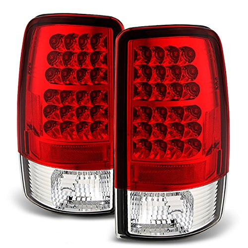 (For 00-06 Suburban Taho Yukon Yukon Denali Red Clear LED Tail Lights Brake Lamps FOR LIFTGATE)