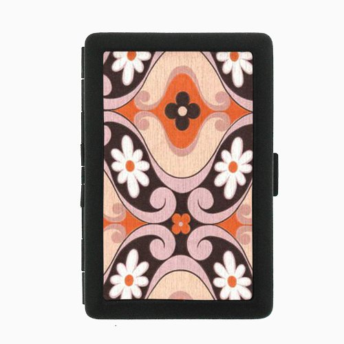 1960s Or 70s Mod Wallpaper 8 Black Color Metal Cigarette Case Holder Box D-043 70s Mod Wallpaper