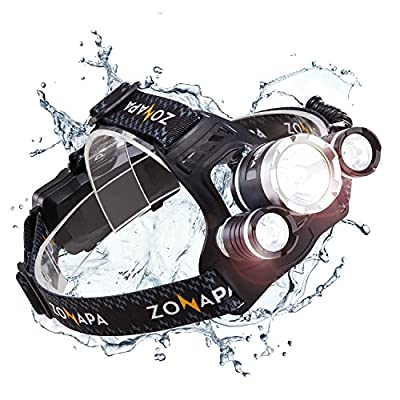 ZONAPA Rechargeable LED Headlamp (6000 Lumens) Head Mounted Flashlight | Waterproof, Outdoor Use | Tactical Camping, Hiking, Running Lights | Ultra Bright