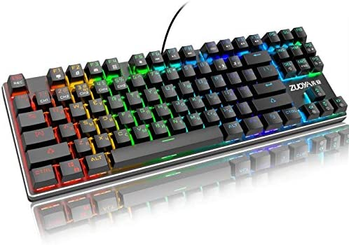 ZHANGXIUE ノートPC用のゲームメカニカルキーボードLEDバックライト付きアンチゴーストブルー/レッド/ブラックスイッチ有線ゲーミングキーボードロシア語/英語 (Axis Body : Black Switch, Color : Mix light RU)