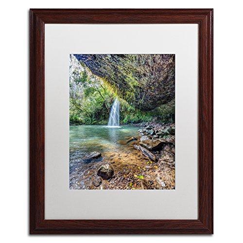 Twin Falls by Pierre Leclerc, White Matte, Wood Frame, - Twin Maui Falls