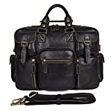 Texbo Vintage Genuine Calfskin Leather Messenger Briefcase Bag, 16 Inch Laptop