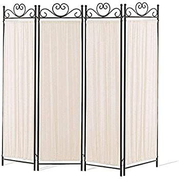 this item coaster 4 panel elegant room divider screen ivory fabric metal frame