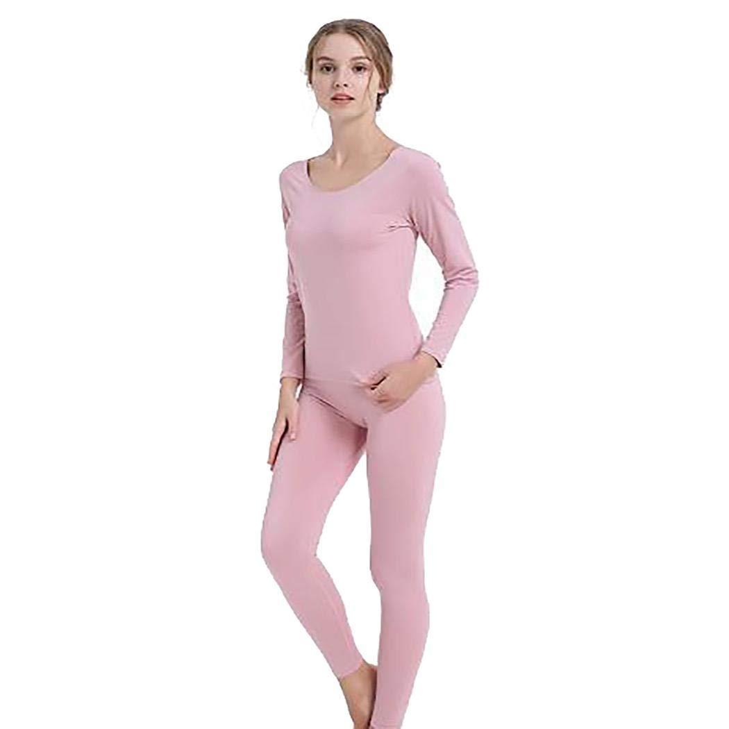 Women Casual Soft O-Neck Long Sleeve Solid Slim Thermal Underwear Set Sets Light Pink by fukjem