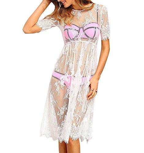 Oberteile Damen Reizvolle Perspektive Bikini Freizeit Bikinis Spitze Hemdbluse Bademode Strand Sonnenschutz Cover Up Bikini Schwarz Weiß Weiß uCQ4q