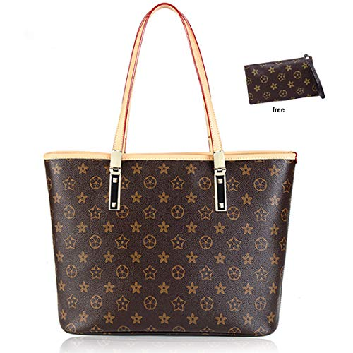 Large Handbag Waterproof Scratch Resistant Synthetic Leather Lady Top Handle Handbags Set for Women Purses Shoulder Bag Fashion Tote Bags Casual brown (Louis Vuitton Bags New)