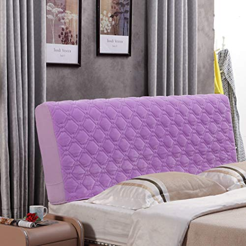 Headboard Slipcover for Leather Bed Purple Washable Dustproof Quilted Bed Head Protective Cover for Full Queen King Bed