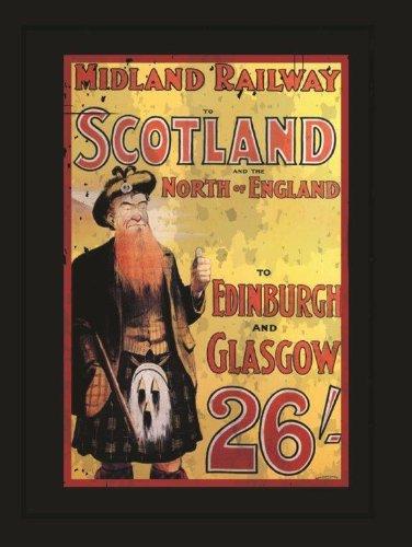 Midland Railway Metal Sign, Scotland and England Travel, Scottish Piper (Best Pubs In Scotland)