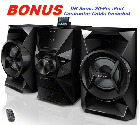 Sony 120 Watt Hi-Fi Stereo Sound System with MP3 CD Player, FM Radio, Digital Time Display, Alarm Clock, Sleep Timer, Child Lock, Lightning Dock & USB Input with DB Sonic 30-Pin iPod Connector Cable