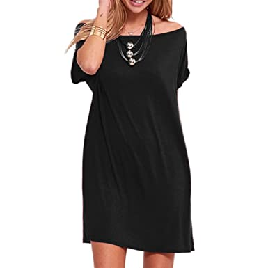 ESAILQ Dress, Womens Plus Size Casual Solid Cold Shoulder Short Night Wear