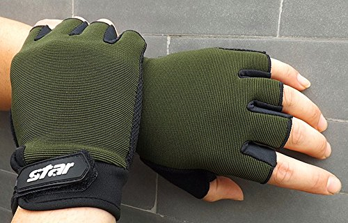 Crytech Workout Glove for Women Men, Breathable Anti-Slip Half Finger Sport Gloves Fingerless Training Gloves with Wrist Support for Fitness Gym Exercise Weight Lifting Cycling (Large, Army,Green)