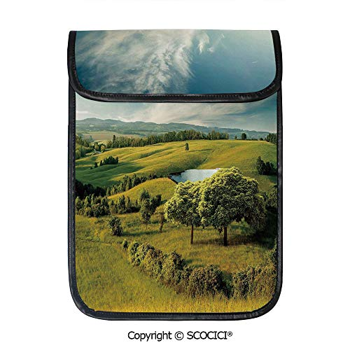 SCOCICI Protective Storage Carrying Sleeve Case - Scenic Scenery Hilly Landscape with Lake and Blue Cloudy Sky Trees Meadow Countryside Compatible with 12.9 Inch iPad Pro Tablet