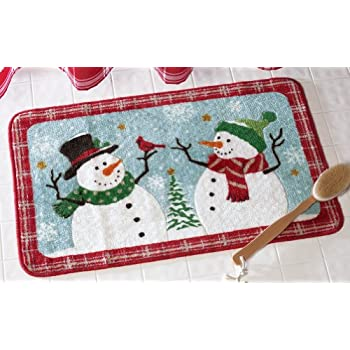 Collections Etc Snow Time Holiday Snowman Bathroom Rug With Winter Design And Non