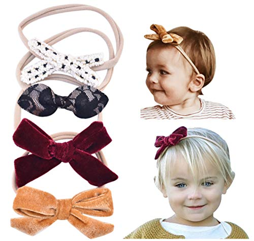 Price comparison product image California Tot Baby Girls' Mixed Bows in Soft & Stretchy Nylon Headbands for Newborn, Toddler Girls Set of 4 (Dreamy Set)