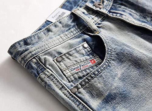 Jeans Uomo Fit Di Da Casual Media A Strappati Dritti Slim Blu Eleganti Pantaloni Brillanti Especial Vita Colori Estilo wqrpw