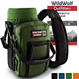 Wild Wolf Outfitters Water Bottle Holder for 32oz Bottles Green - Carry, Protect and Insulate Your Best Flask with This Military Grade Carrier w/ 2 Pockets & an Adjustable Padded Shoulder Strap.