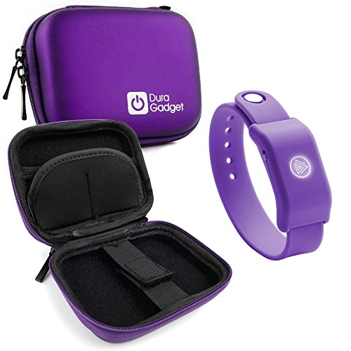 DURAGADGET Purple Hard EVA Shell Case with Carabiner Clip & Twin Zips for The SoundMoovz Musical Bandz