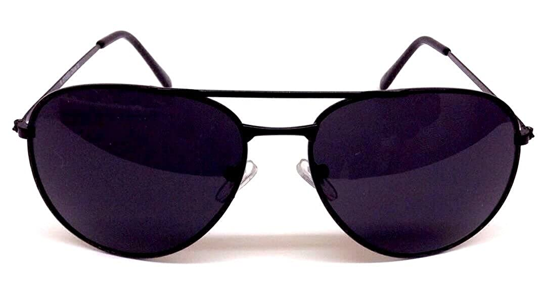 62a7ebf3c2eba Amazon.com  Black Pilot Aviator Sunglasses Dark Lenses  Clothing