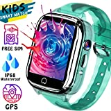 Kids Smart Watch GPS Tracker - [SIM Card Included] Waterproof Phone Smartwatch for 3-12 Years Old Boy Girl with Two-Way Call SOS Games Camera Kid Watch for Outdoor Sport Camping School Class Gifts