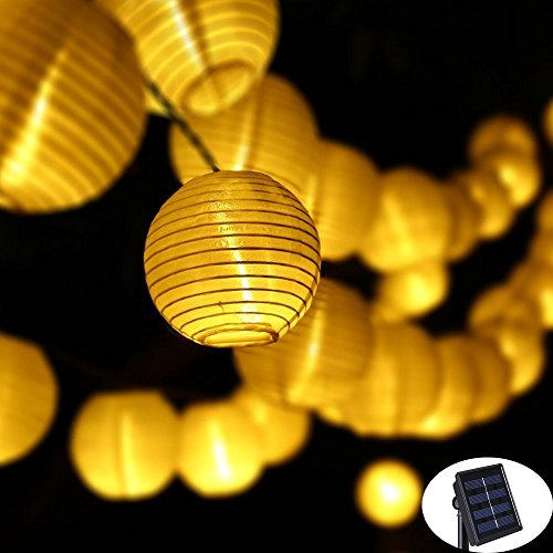 KNOWHOME LED Solar String Lights,16ft 20LED 8MODES, Fabric fairy Lantern Ball Lights, Waterproof,Christmas Lights,Ideal for Wedding, Party,Garden,Patio Lights Decoration (Warm White)