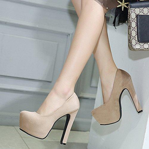 14cm y zapatos cabeza zapatos de resistentes liviana singles black solo Negrita alto agua femeninos al ZHZNVX con redonda a5qEwY