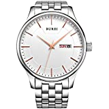 BUREIBUREI Men's Business Classic Rose Gold Watch with Day and Date Calendar Stainless Steel Band