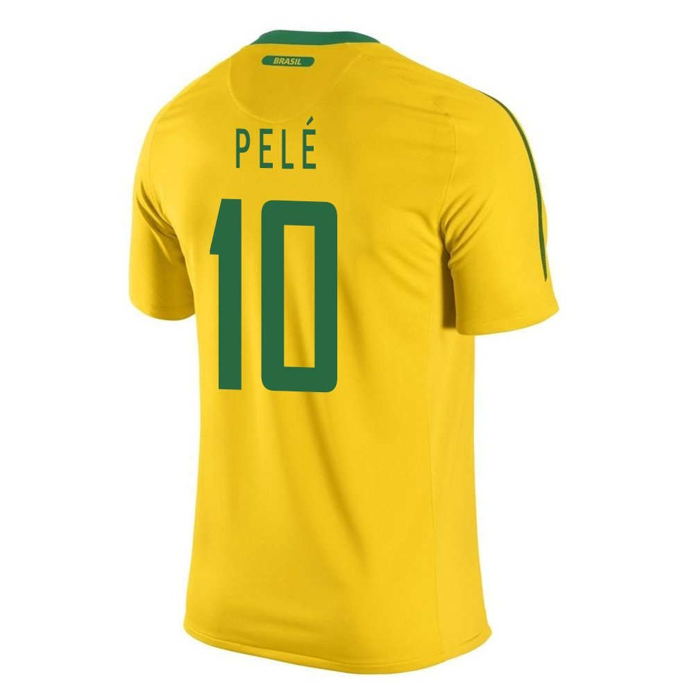9e9c8376459 Amazon.com  Pele  10 Brazil Home Soccer Jersey Youth. (YS ...